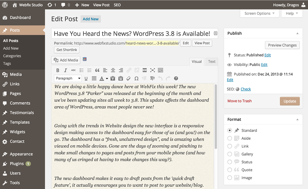 WordPress 3.8 is Available
